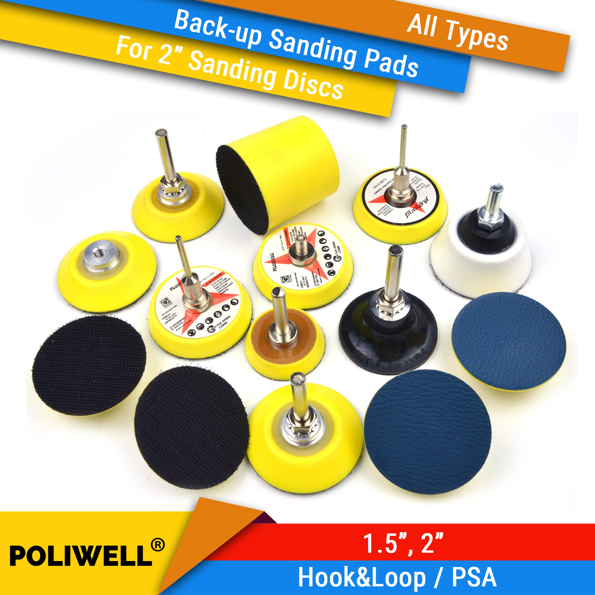 1.5/2 Inch All Types Back-up Sanding Pads For Abrasive Sandpaper Sanding Discs For Woodworking Polishing Tool Accessories
