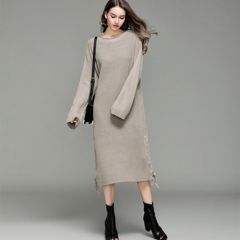 HMCHIME 2017 Autumn winter women long knitted dress fashion sexy long sleeve round collar solid loose woman bandage dress HM680 hmchime 2017 autumn women high elastic knitted dress fashion sexy patchwork round collar long sleeve woman sweater dress hm703