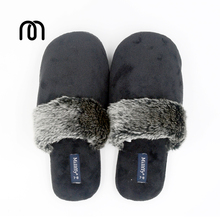 Millffy comfort Velvet Slipper with Faux Trim soft cuddly home warm at home slippers bedroom shoes