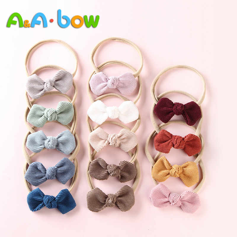 14 Pieces/Batch Corduroy Bow Headband Girl.Baby's Stretch Nylon Headband With Cute Bow Tiara Hair Accessories