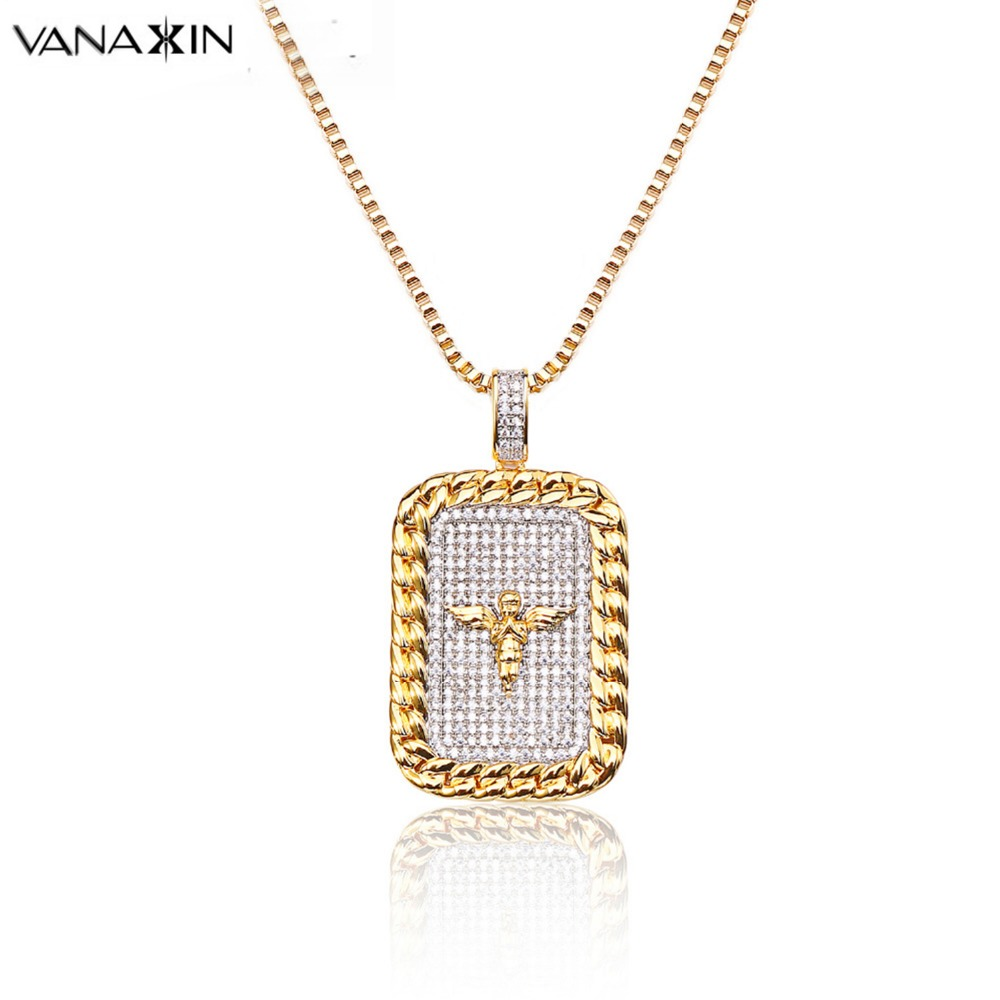 VANAXIN Men Necklace for Punk Angel Wings Hiphop Square Ice Out Pave Brinco Male Pendant AAA Clear CZ Praying Angel Men Jewelry VANAXIN Men Necklace for Punk Angel Wings Hiphop Square Ice Out Pave Brinco Male Pendant AAA Clear CZ Praying Angel Men Jewelry