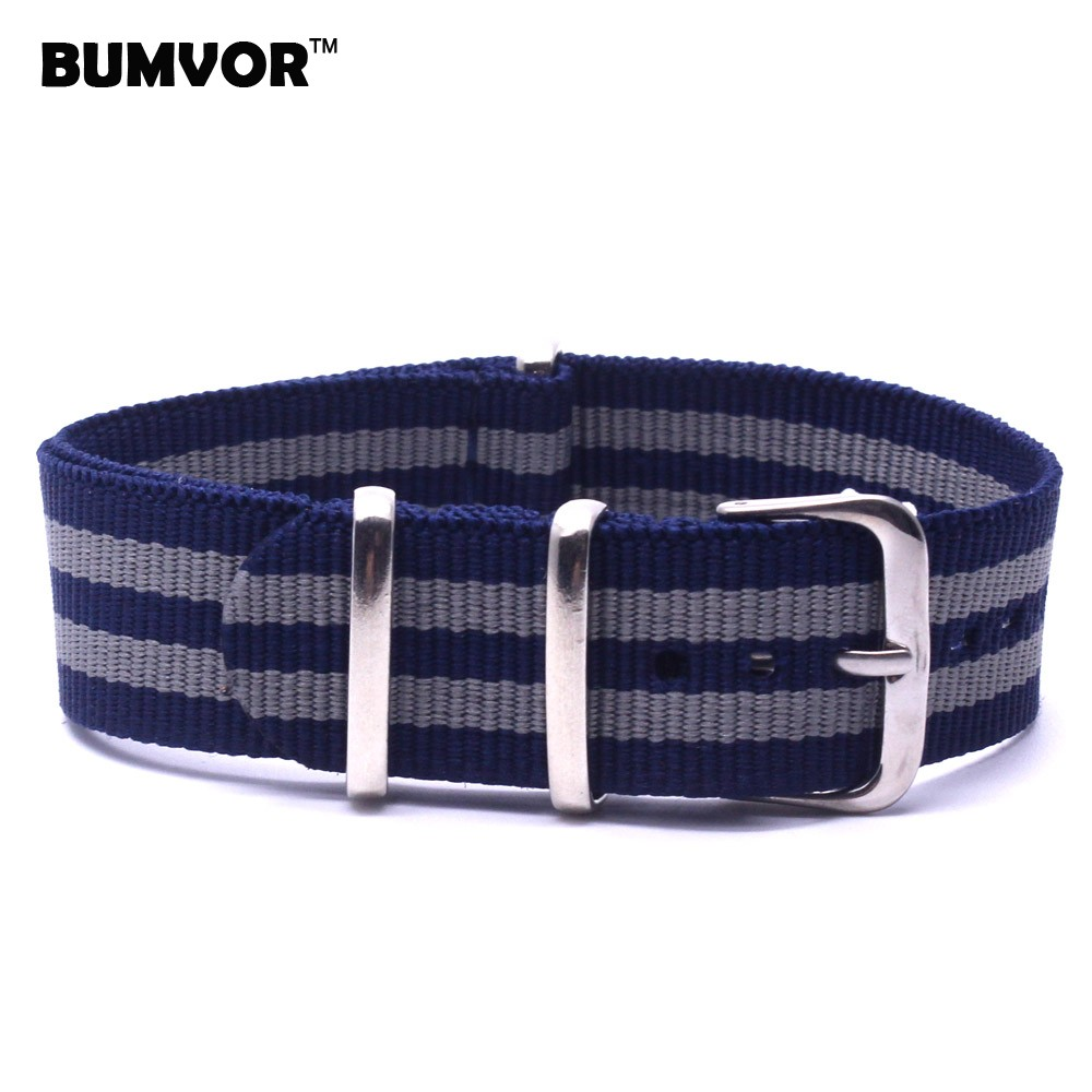 c959e4910ad 20mm Belts Stripe Cambo Navy Grey Nato Fiber watchband Nylon Watch Straps  Wristwatch Band Buckle fabric strap on for hours-in Watchbands from Watches  on ...