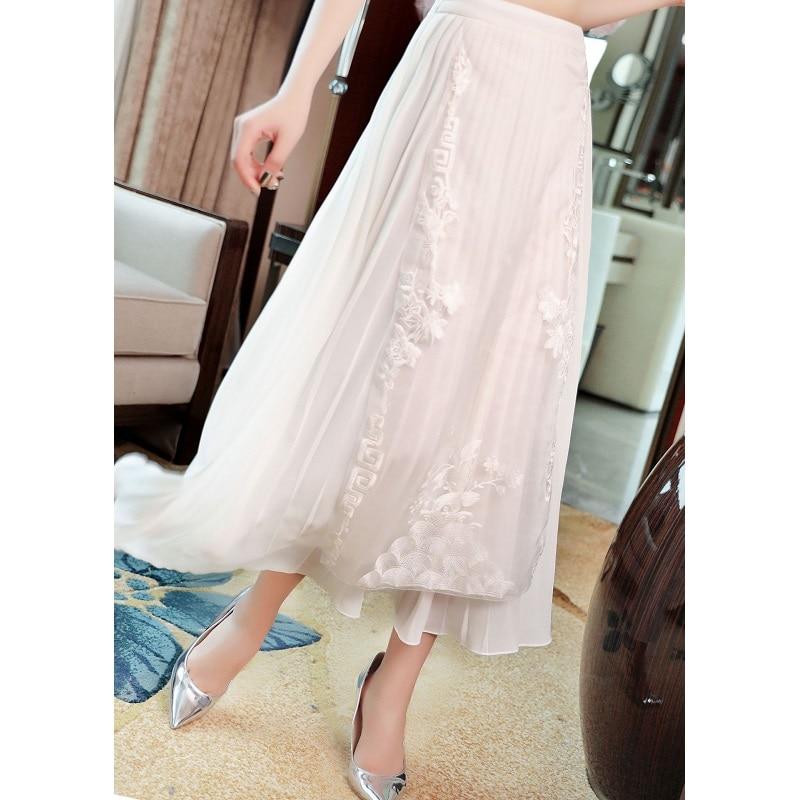 Высокое качество юбки 2019 Весна Лето Мода белый розовый юбка женская люрекс вышивка по щиколотку винтажные юбки плюс размер - 4