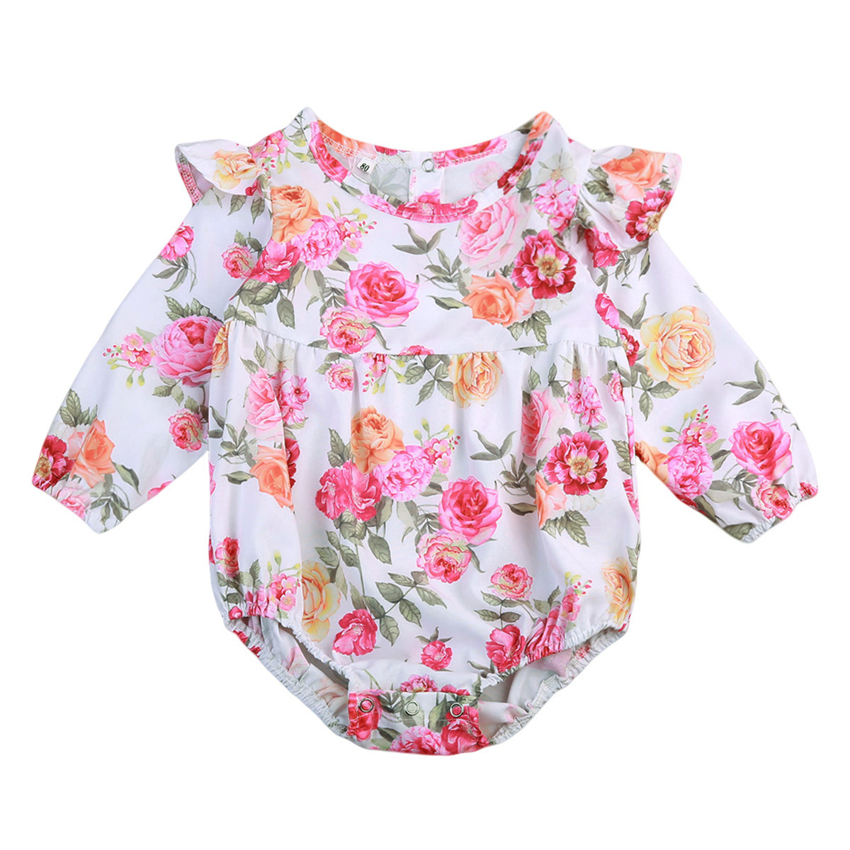 Newborn Baby Girls Long Sleeve Romper Floral Jumpsuit Clothes Outfits