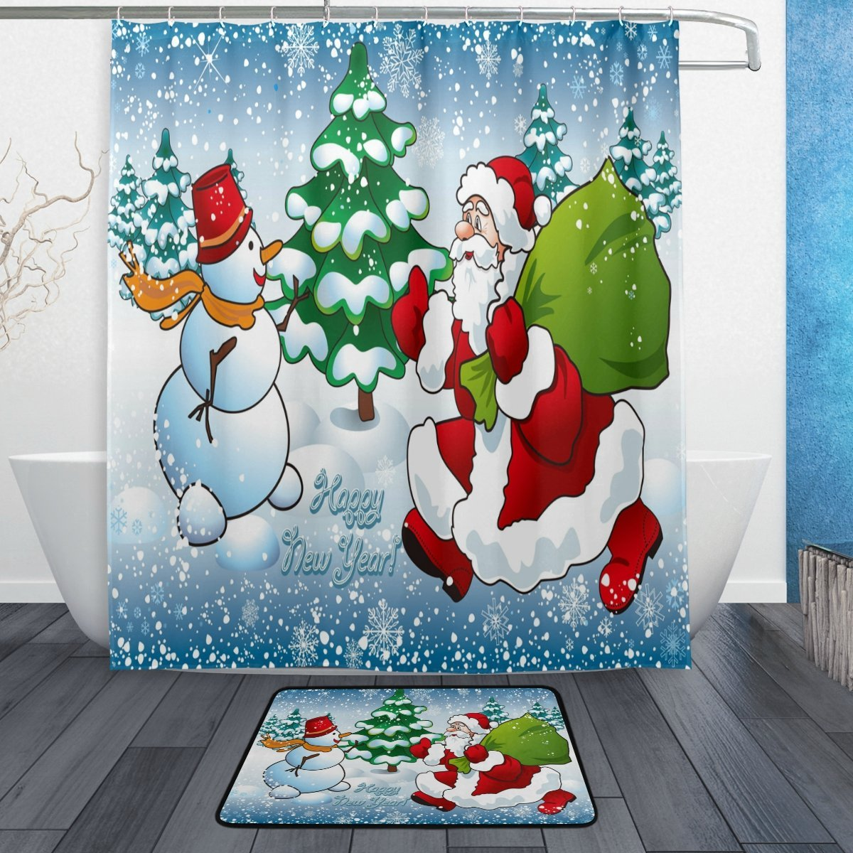Us 15 59 35 Off Winter Christmas Shower Curtain And Mat Set Santa Claus Snowman Christmas Tree Waterproof Fabric Bathroom Curtain In Shower