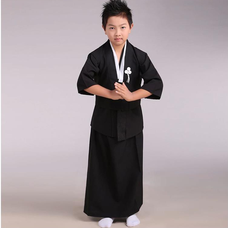 Black Japanese Boys Kimono Child Warrior Traditional