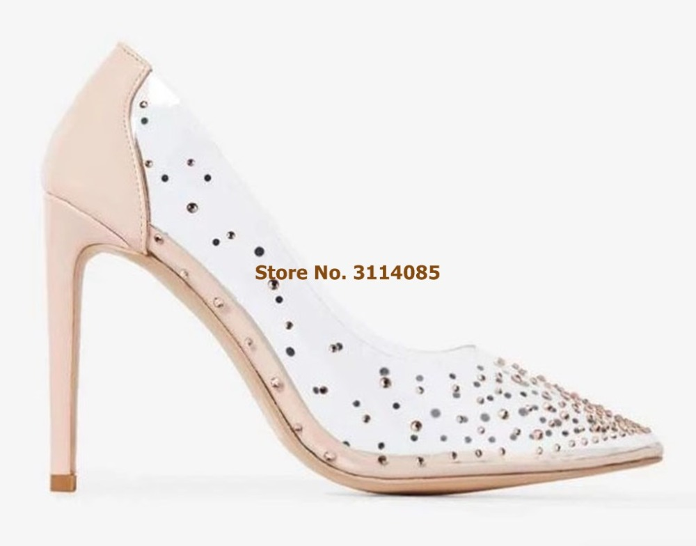 Femmes élégant Bling Bling cristal chaussures de mariage Nude blanc talon Patchwork robe pompes clair PVC Banquet chaussures paillettes pompes - 5