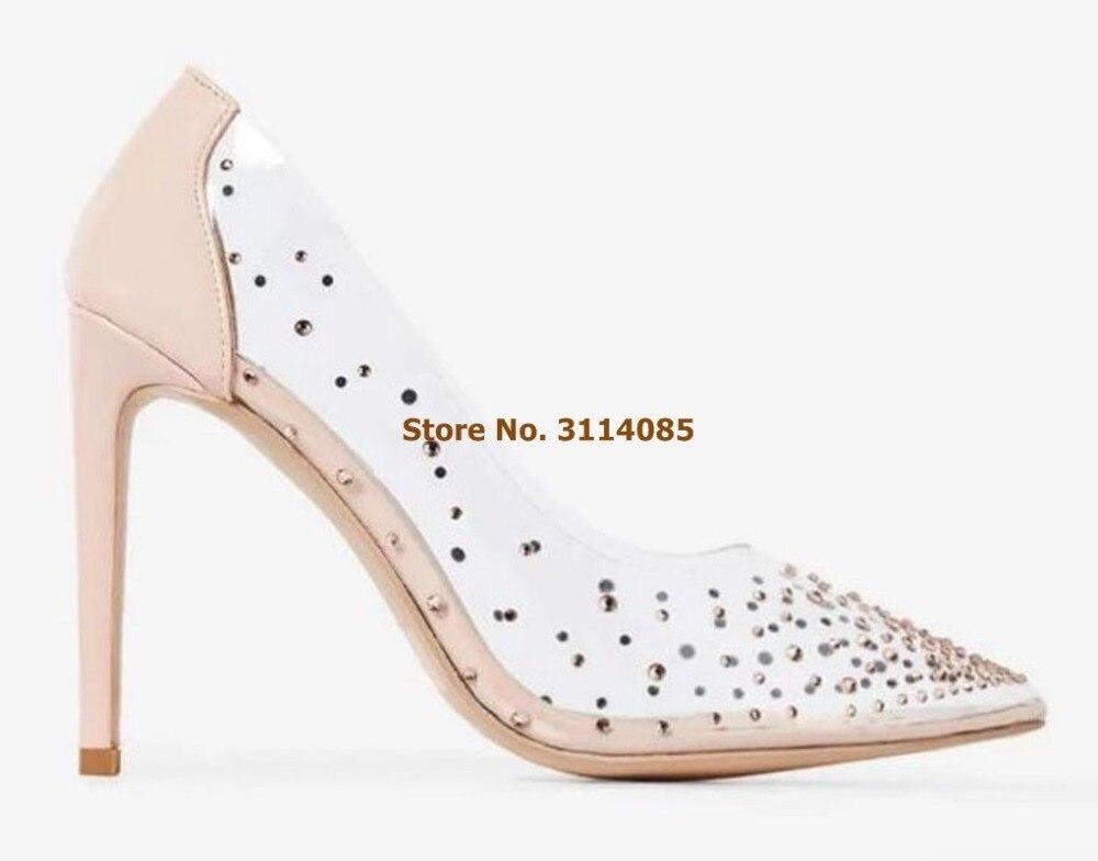 Mulheres Elegante Bling Bling Casamento Sapatos de Cristal Salto Nudez Branco Vestido Patchwork Bombas de PVC Transparente Banquete Sapatos de Glitter Bombas - 5