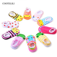 COOTELILI Cartoon Baby Socks With Rubber Soles Lace Anti Slip Floor Socks For Baby Girls Boys Cotton Infant Socks 0-2 Years(China)