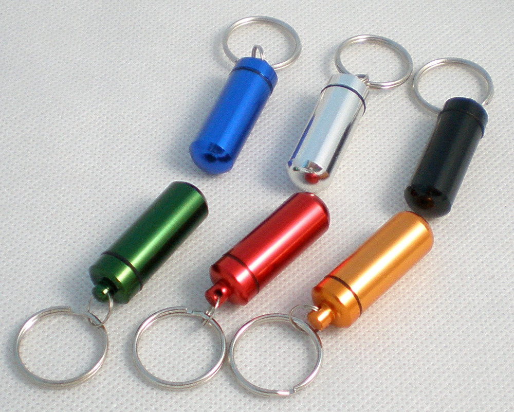 Free Shipping 1pcs Can Choose 6colors Aluminium Pill Box Case Cache Container Geocache Geocaching Key Rings Keychain Holder Vial