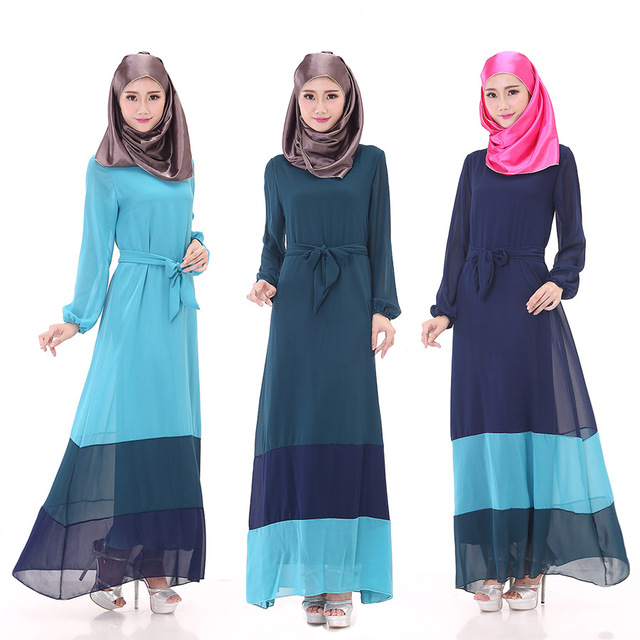 Muslim women dress long sleeved dress Malaysia Muslim Arab robe ...