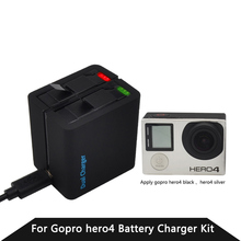 TELESIN Gopro Hero 4 Battery Charger Pack For Gopro4 WIFI REMOTE Dual Battery Charger Go Pro 4 Accessories Gopro Camera