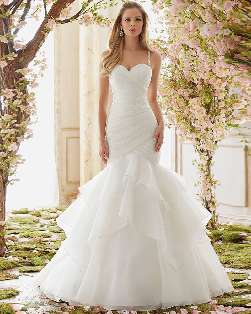 Joky quaon spaghetti straps sexy strapless backless pleat for Strapless and backless wedding dress