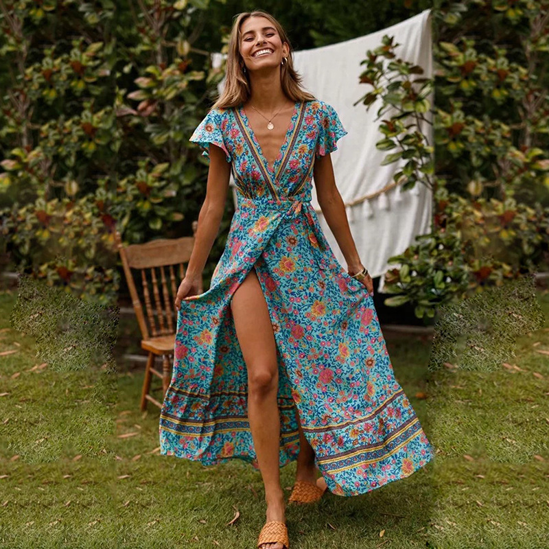 Beach Tunic And Dress Swim Suit Cover Up Kaftan Dresses Swimwear Ladies Swimsuit Female Women Wear New Summer 2019 Neck Print floral dresses for beach