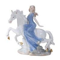 Западные женские девушка на лошадь домашнего декора Керамика фигурки Книги по искусству ремесел Кофе бар фарфора орнамент Свадебные украш
