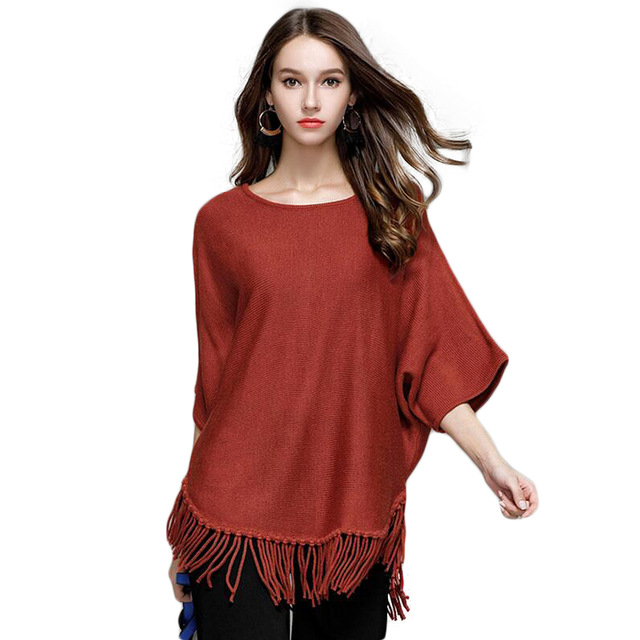 2019 Spring Autumn Fashion Elegant Cloak Sweaters Tassel Solid Oversize Jumper Bat Sleeved Poncho Women Knitted Sweaters Shirt