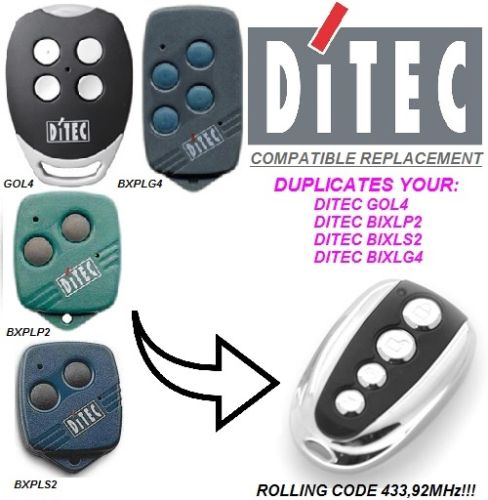 DITEC GOL4, V2 PhoenixV2 PHOX, Remote Control Replacement 433.92 MHz Rolling Code ONLY Clone