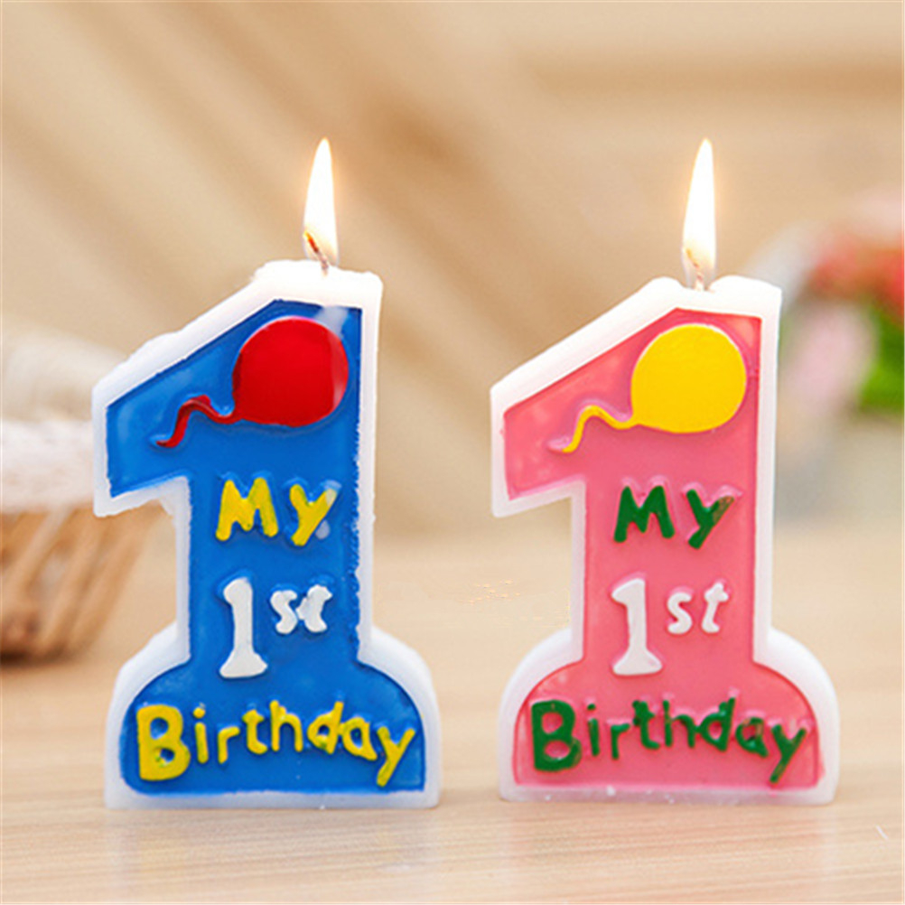 Baby Girl Boy 1st Happy Birthday Party Supplies Candle Number 1 Blue