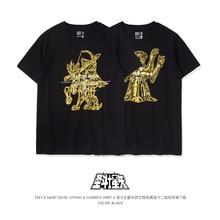 TEE7カップル記号tシャツ日本アニメゴールドセイントセイコー綿プリントメンズカジュアルラウンド襟スリム半袖
