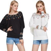 2017 Harajuku Shirt Women Blouse Plus Size Winter Tops Loose Bat Sleeve Cotton Shirt Black White