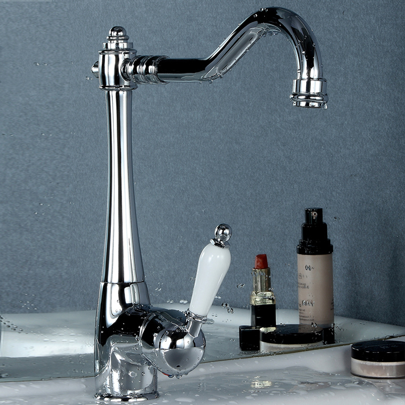 limited freeshipping Modern single handle polished datang copper basin faucet hot and cold ceramic handle
