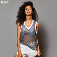 Oyoo Hollow Out Yoga Top Summer Sleeveless Fitness Blouses Sexy Sport Running Shirts Women Fitness Clothes