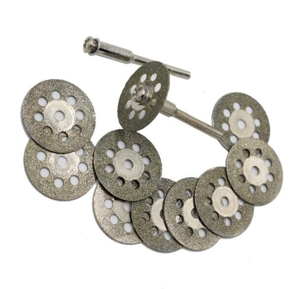 10pc 22mm Rotary Tool Accessory Fits Dremel Craftsman Diamond Cut Off Wheel Disc + 3mm Rod 2pc