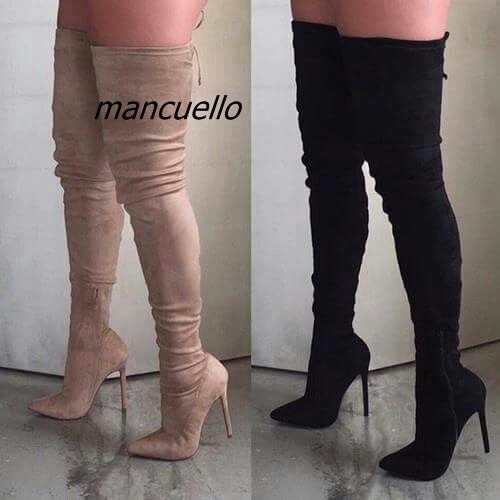 все цены на Elegant Women Black Stiletto Heel Thigh High Boots Sexy Slim Fit Pointy Thin Heel Lace Up Long Boots Pretty Shoes Hot Selling онлайн