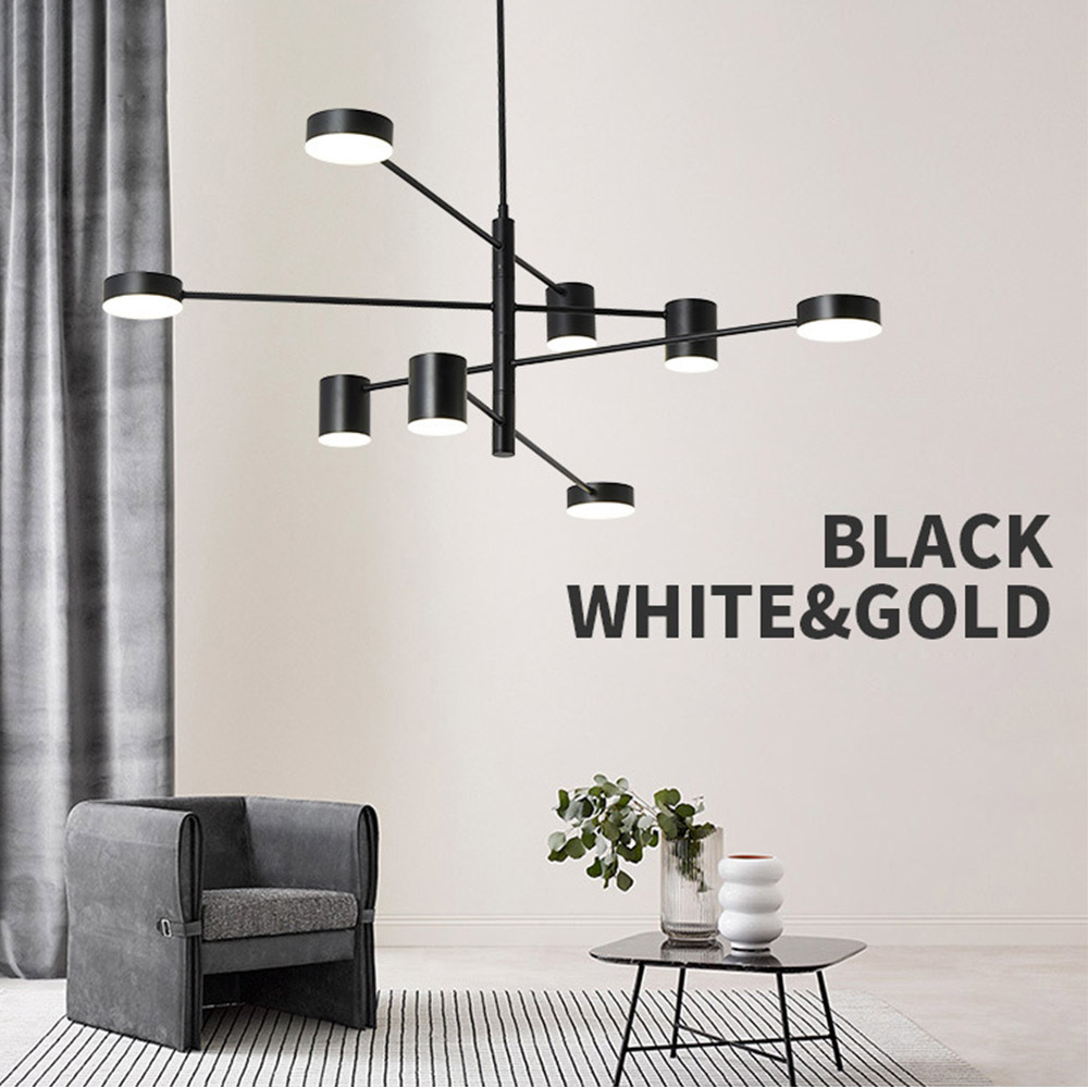 Modern Fashion Black Gold White Long Led Ceiling Suspended Chandelier Light Lamp for Hall Kitchen Living
