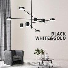 Moderne Mode Schwarz Gold Weiß Lange Led Decke Ausgesetzt Kronleuchter Licht Lampe für Halle Küche Wohnzimmer Loft Schlafzimmer