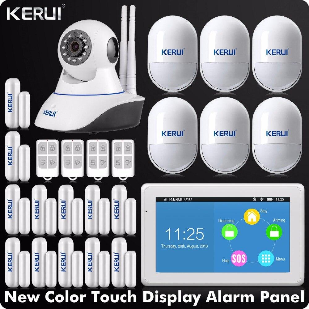 Nouvelle Arrivée KERUI Tactile-Écran 7 pouce TFT Couleur D'affichage WIFI + GSM Alarme Système D'alarme de Sécurité À Domicile + double Antenne Wifi IP Caméra