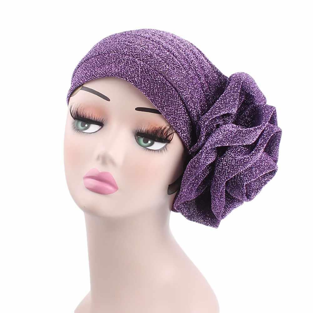 Hindistan Müslüman Streç şapkalar kadınlar için Parlak Iplik Çiçek Türban zarif şapkalar kadınlar için yaz başörtüsü Wrap Kap gorras 35 # P7