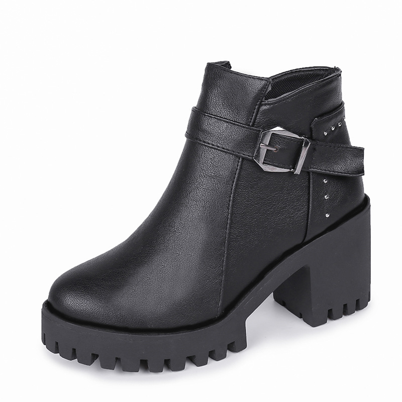 2019 autumn and winter European and American belt buckle side pull round head women's booties black ljj 0228