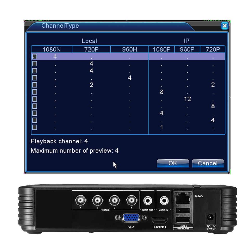 AHD/N DVR 4Channel CCTV 8Channel AHD DVR AHD-N DVR/1080 P NVR 4in1 Video perekam untuk AHD Kamera Ip Kamera Kamera Analog