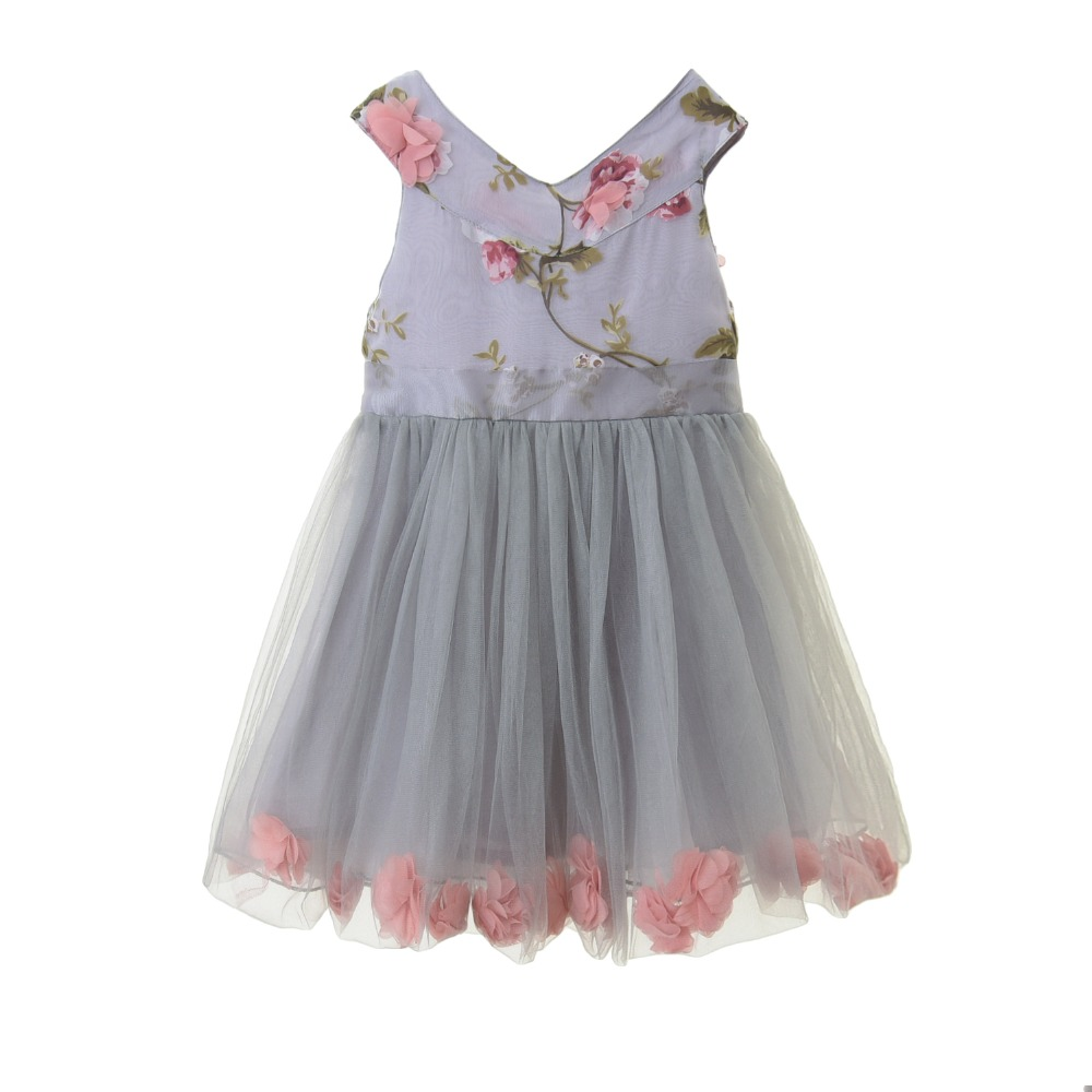 Girls Summer Dress 2017 Brand Design 4 Layers Flower Wedding Party Baby Girl Princess Dresses Sleeveless Toddler Clothes 4-9Y ems dhl free shipping toddler little girl s 2017 princess ruffles layers sleeveless lace dress summer style suspender