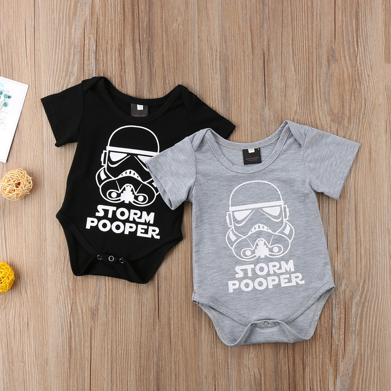 Newborn Star Wars Baby Boy Girl Jumpsuit Bodysuit Cartoon Short Sleeve Cotton Clothes Outfits 0-18M elonbo women s red star style digital painting high waisted stretchy slim jumpsuit bodysuit