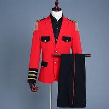Мужской костюм в стиле милитари Красный Блейзер с бахромой на
