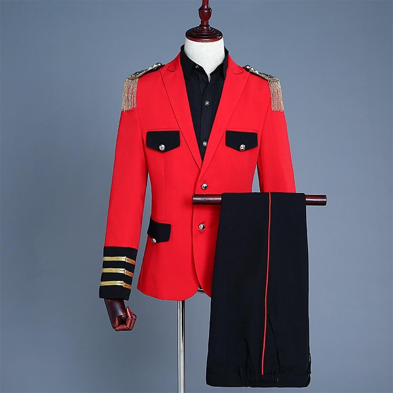 Anzüge & Blazer Männer Roten Fransen Schulter Armband Military Anzug Palace Blazer Männer Hochzeit Anzüge 2019 Zwei Stück Set Mantel Hosen Rot Herren Anzüge Anzüge
