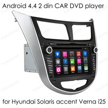 touch Screen Car DVD Player 2 din Android 4.4 auto radio 1024*600 Video GPS for Hyundai Solaris accent Verna i25 Quad Core