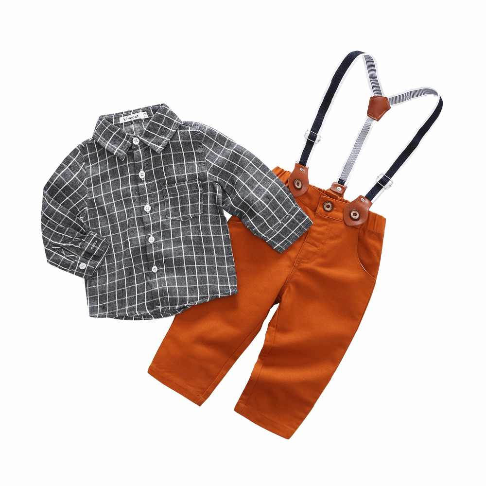 d185ee35ad Newborn Baby Boys Clothing Sets Infants Top Spring Kids Clothes Cotton Grey  Plaid Long Sleeve Shirt