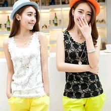 Nice New Brand Womens Clothing Sexy Sleeveless Wave Lace Vest Base Shirt Tank Pops Solid Color Slim Fit Shirt Lace Blouse