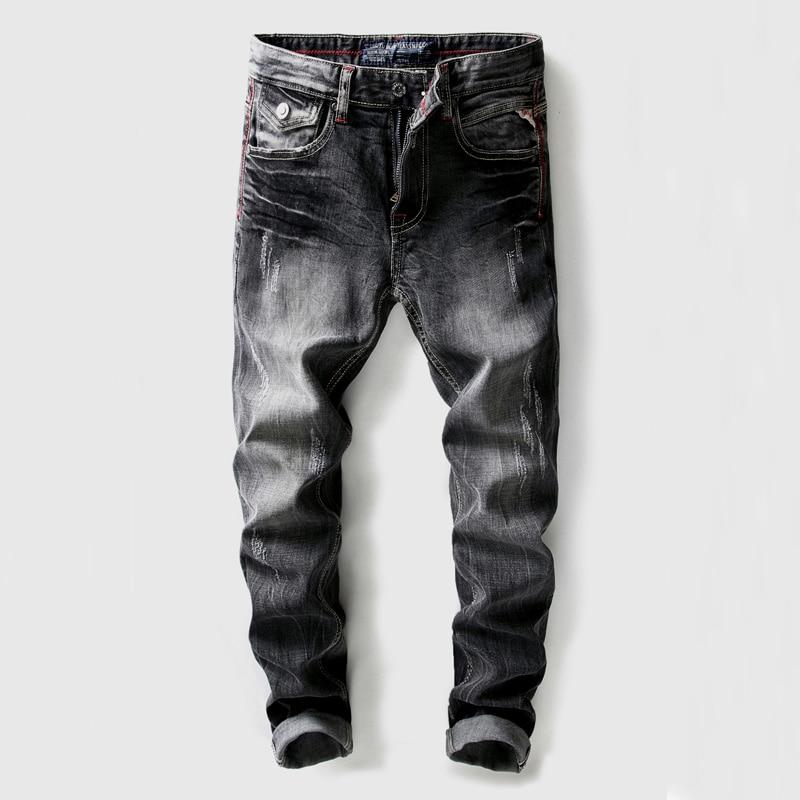 High Quality Black Gray Color Men's Jeans Slim Fit Vintage Hip Hop Ripped Jeans Men Denim Pants Brand Designer Classical Jeans 2017 new designer korea men s jeans slim fit classic denim jeans pants straight trousers leg blue big size 30 34