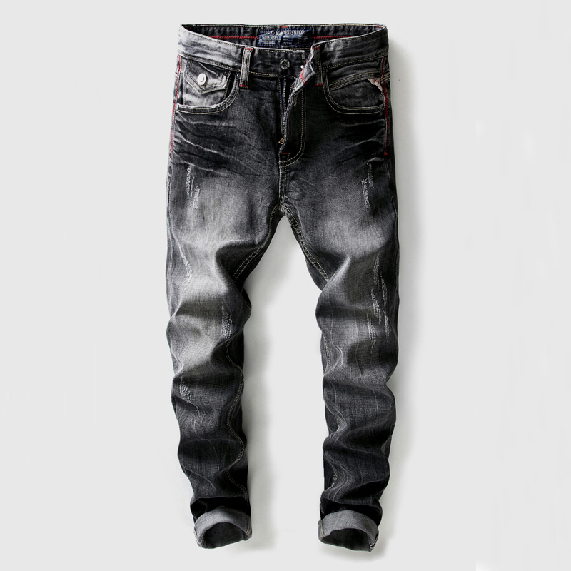 High Quality Black Gray Color Mens Jeans Slim Fit Vintage Hip Hop Ripped Jeans Men Denim Pants Brand Designer Classical Jeans