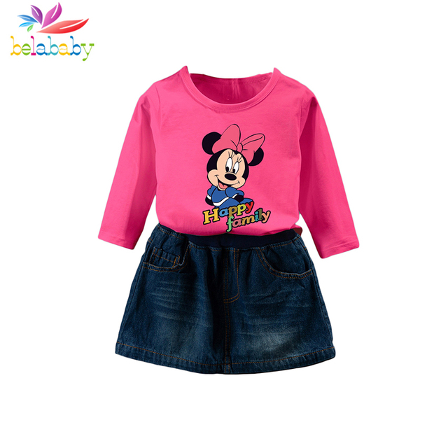ac6900071ab2 Belababy Baby Girls Suit Cotton 2018 Autumn Children Cartoon Letter Print  Top+Denim Skirt 2PCS Toddler Clothing Sets