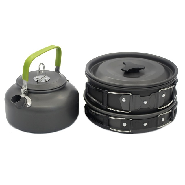 3pcs Cooking Set Cookware Water Kettle Aluminum Portable Coffee Pot Teapot Travel Camping Nature Hiking Pcinic Tableware Pan