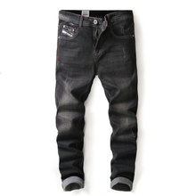 Vyriški aukštos kokybės tiesioginiai džinsinio kelnės drabužiai, supjaustyti didelis dydis, medvilniniai juodi, ploni, tinkami vintage džinsai, vyriški vyriški baisūs džinsai