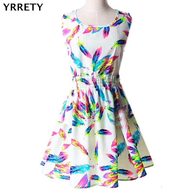 YRRETY Woman Beach Dress Summer Boho Print Clothes Sleeveless Party Dress Casual Short Sundress Plus Size Floral Dress 2018