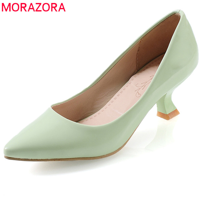 MORAZORA 2020 Hot Women Pumps Spring Summer Pointed Toe Fashion Shoes Red Party Wedding Shoes Big Size 33-43 High Heel Shoes