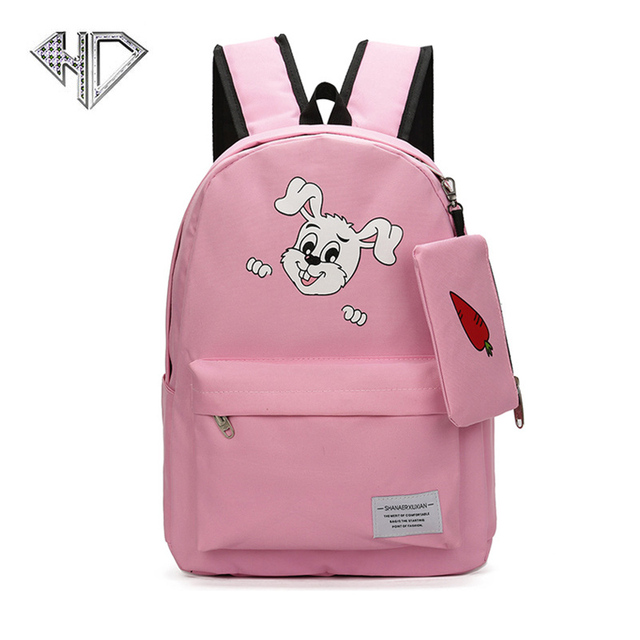 17716e4d674de3 Brand Fashion Canvas Backpack Women College Preppy School Bags For  Teenagers Girls Large Capacity Lovely Rabbit