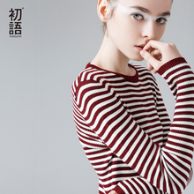 Toyouth New Stripe Knitted Sweaters Women Contrast Color Warm O-Neck Elastic Sweater Pullovers
